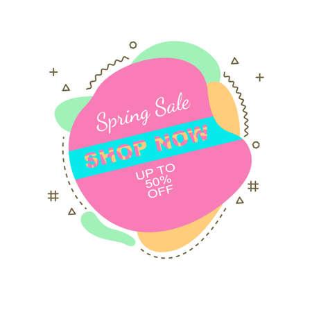 Spring sale banner, poster modern flat style design. Vector illustration flyer, invitation or template.