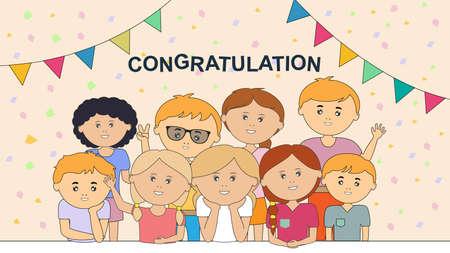 Happy celebration, funny childrens who congratulate you. Modern flat design style minimal. Greeting card. Vector illustration. Иллюстрация