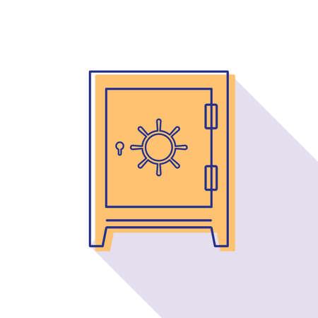 Safe bank linear style. Modern flat design vector icon.