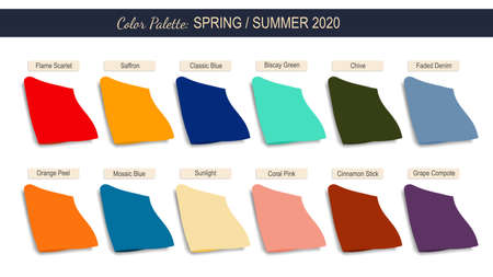 Color palette spring summer 2020. Samples of trendy colors next yea