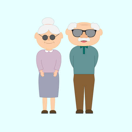 Happy grandparents day with and grandfather and grandmother. Vector illustration in cartoon style. Greetings card.