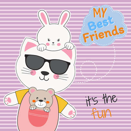 Cute animals friends, bear, cat in sunglasses and rabbit. Ilustrace