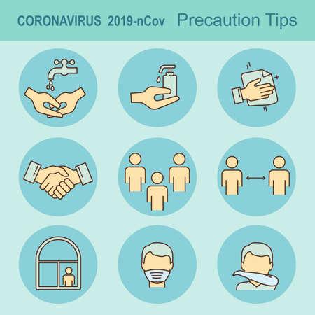 Poster Coronavirus covid-19 Precaution Tips. Global epidemic 2019-nCov.