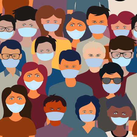 Global epidemic coronavirus 2019-nCov. Virus covid-19. Quarantine people women and man in face medical masks. Concept vector illustration pattern.