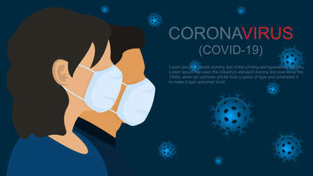 People, man and women in medical face mask. Global epidemic coronavirus 2019-nCov. Virus covid-19 wuhan from china. Concept blue background, vector illustration. Illustration