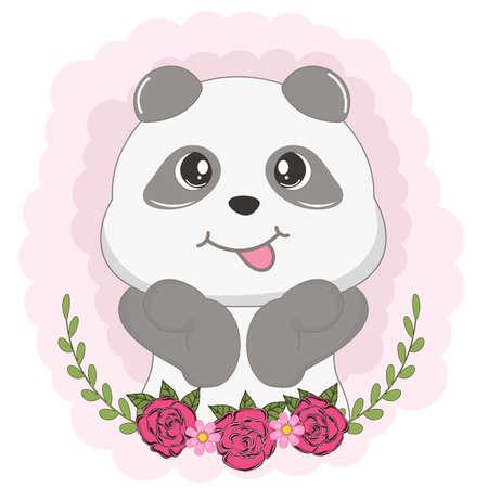 Beautiful cute panda bear girl with flowers. Vector illustration. Illustration
