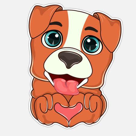 Cute cartoon dog that showing paws heart shape.