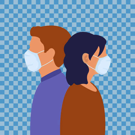 People man and woman in medical face mask. Vectores