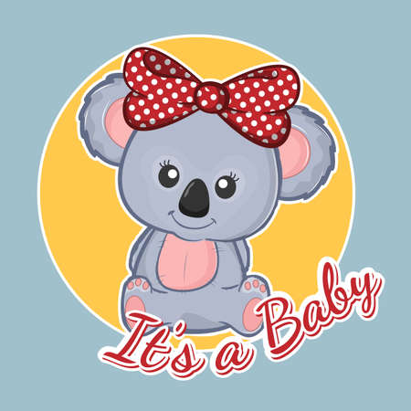 Cute cartoon childish koala teddy. Its a baby.