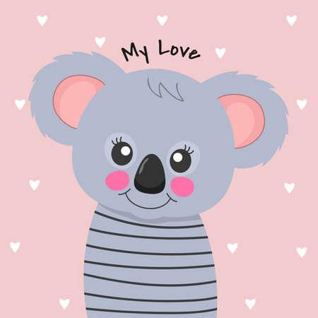 Cute cartoon Koala teddy. I love you.
