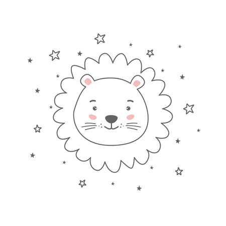 Young cute cartoon head lion line drawing.