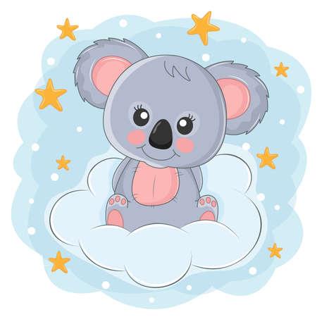Beautiful cute childish bear koala sitting on a cloud. Vectores