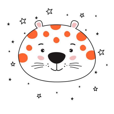 Young cute cartoon head leopard line drawing.