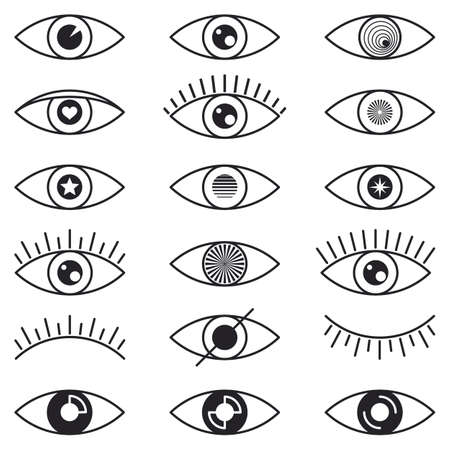 Set eye icons. Open and closed eyes, sleeping eye shapes, with eyelash, searching signs for web page.