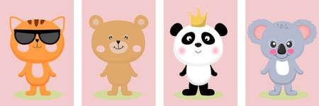 Cute cartoon characters animals panda, cat, bear, koala, kawaii flat style.