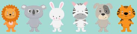 Cute cartoon characters animals lion, koala, bear, rabbit, bunny, zebra, dog, tiger kawaii flat style. Vectores