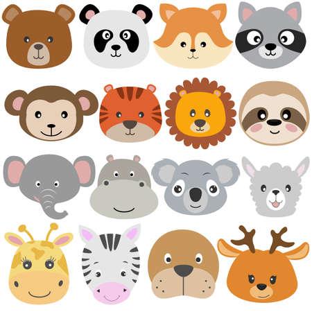 Cute cartoon animals bear, koala, fox, raccoon, monkey, lion, sloth, elephant, llama, dear flat style