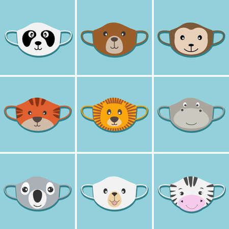Set of kids face masks with animals faces. Vectores