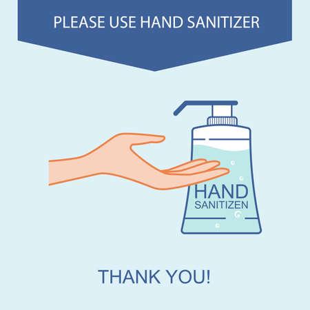 Please use hand sanitizer. Sign sanitizer washing hands.