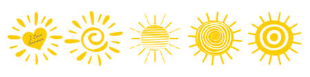 Sun icon Set, yellow color. Fun doodle in flat style. Vectores