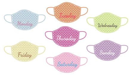 Set of weekly colorful face mask with the names of the days of the week. Vectores