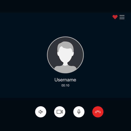 Template screen video chat user interface. Vector illustration flat style.