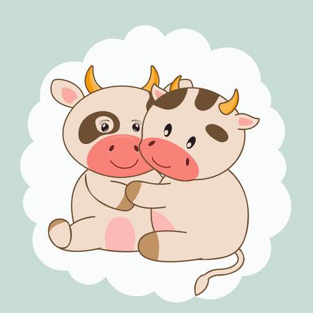 Cute sweet love cartoon couple cows. Vectores