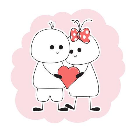 Boy and girl keep heart.