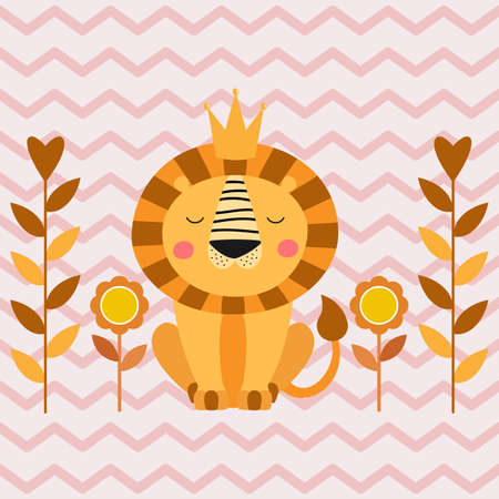 Cute cartoon lion in jungle. Funny animal character flat style.