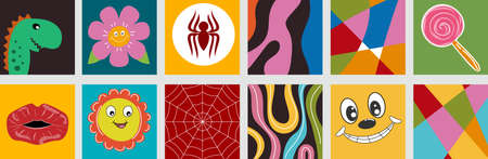 Poster collection hand drawn abstract shapes, funny cartoon comic characters.