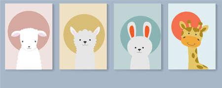 Poster collection with cute animals, sheep, lamb, llama, rabbit and giraffe.