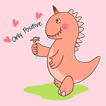 Cute cartoon dino, only positive. Greeting card. Vectores