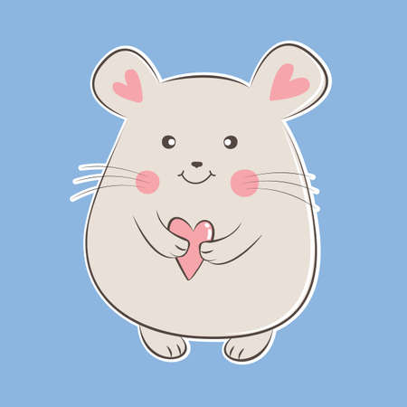 Cute cartoon mouse holding heart. Greeting card Vectores