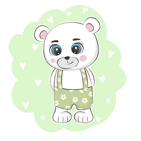 Cute cartoon bear teddy. Funny animal character flat style.