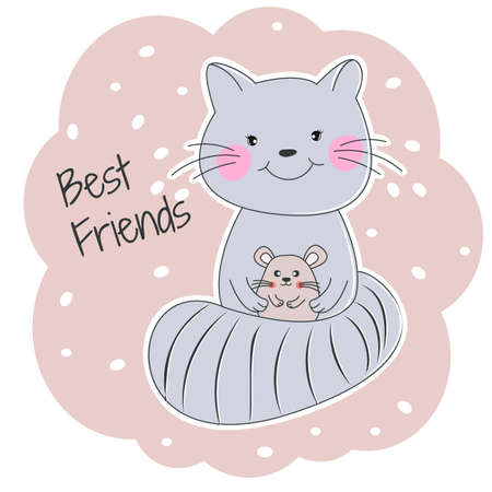 Cute cartoon cat and mouse best friends.