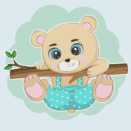 Cute cartoon bear teddy climbed a tree