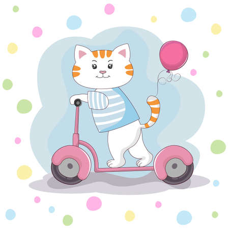 Cute cartoon cat is riding a scooter.