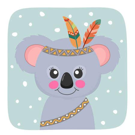 Cute Cartoon bear koala with red indian feathers.