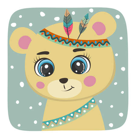 Cute Cartoon bear teddy with red indian feathers.