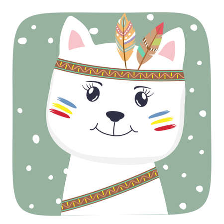 Cute Cartoon cat baby with american indian feathers. Vectores
