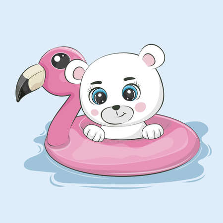 Cute cartoon Bear teddy swimming on inflatable flamingo.