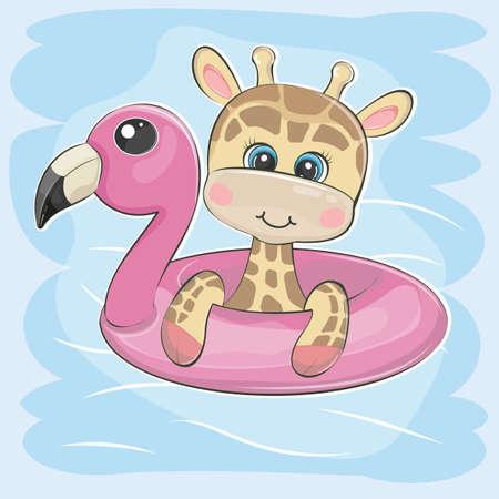 Cute cartoon Giraffe swimming on inflatable flamingo. Vectores