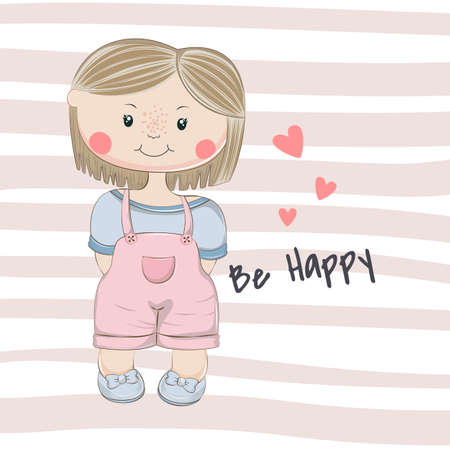 Cute cartoon little Girl. Be happy character flat style.