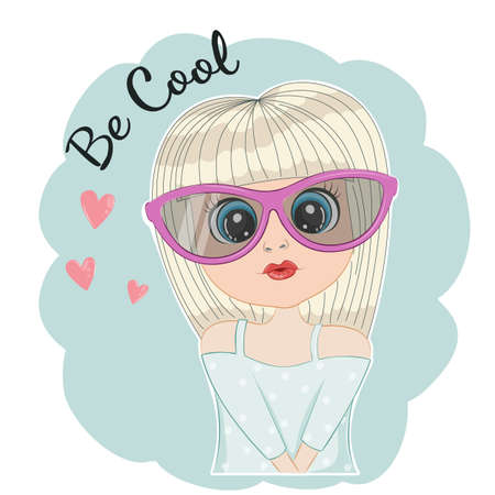 Portrait of Cute girl with sun glasses. Vectores