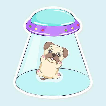 Poster cartoon, ufo kidnap of dog pug.