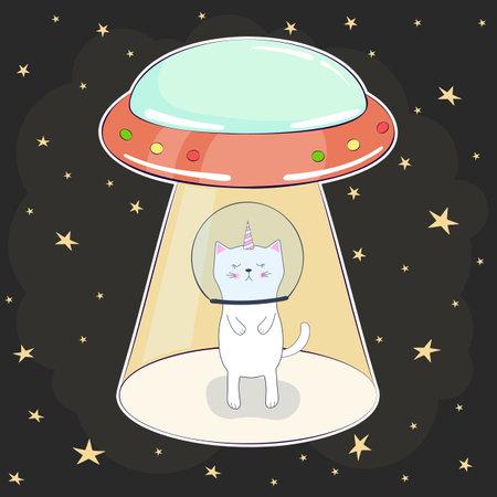 Poster cartoon, ufo kidnap of cat baby.
