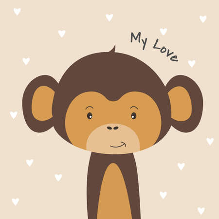 Cute cartoon monkey and inscription my love.