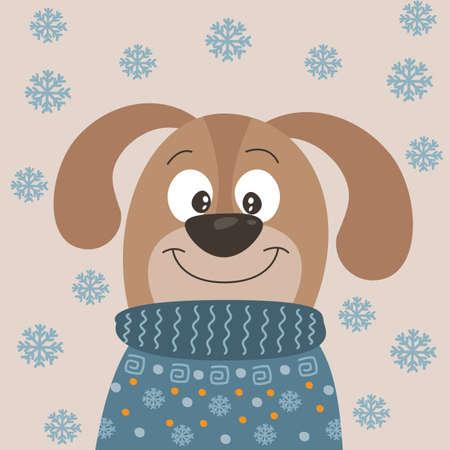 Cute cartoon little dog puppy on winter background Vectores