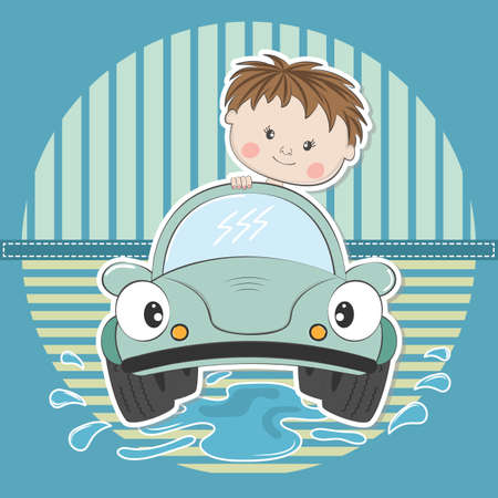 Cute young cartoon boy driving car. Vector illustration.