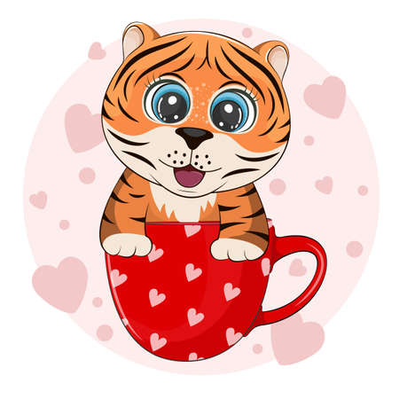 Cute cartoon tiger is sitting in a cup of coffee.